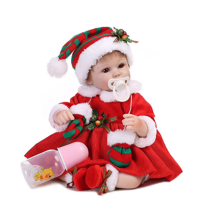 Christmas Reborn Baby Doll Silicone Body Toy For Girl Newborn Princess Bebe Doll Accompanying Toy Birthday Xmas Gift For Kids
