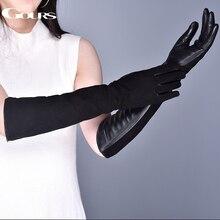Gours luvas de couro genuíno das mulheres inverno quente camurça pele de cabra tela sensível ao toque luvas longas moda pele carneiro mittens novo gsl080