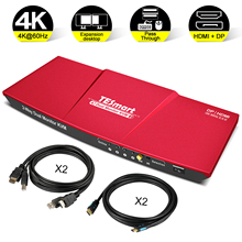 KVM Switch DisplayPort + HDMI Dual Monitor Support UHD 4K@60Hz USB 2.0 Devices Control up to 2 Computers with (DP+HDMI+USB)