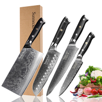 SUNNECKO 4pcs Kitchen Knives Set Santoku Chef Utility Knife Damascus Steel Japanese VG10 Blade G10 Handle Meat Cleaver Cut Knife