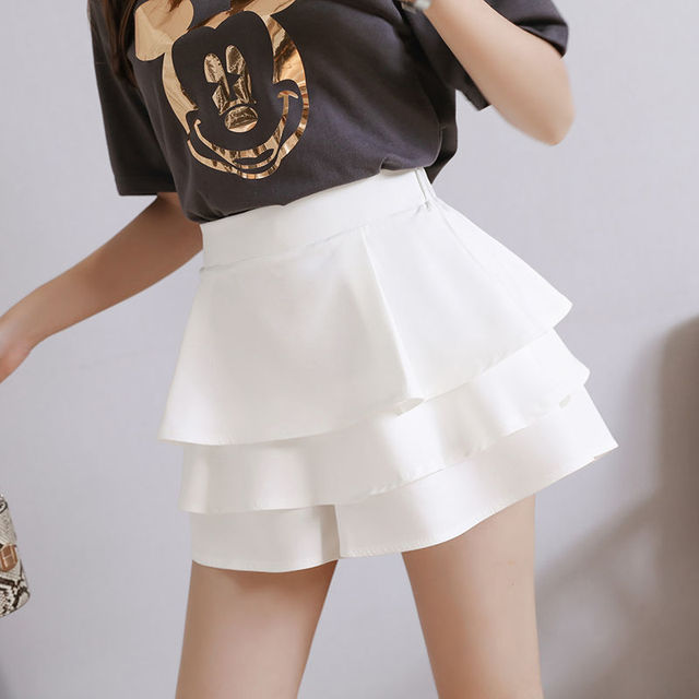 summer chiffon shorts black white green pink elasticated high waist women's Ruffles cake skirt girl lovely sweet student dance 5