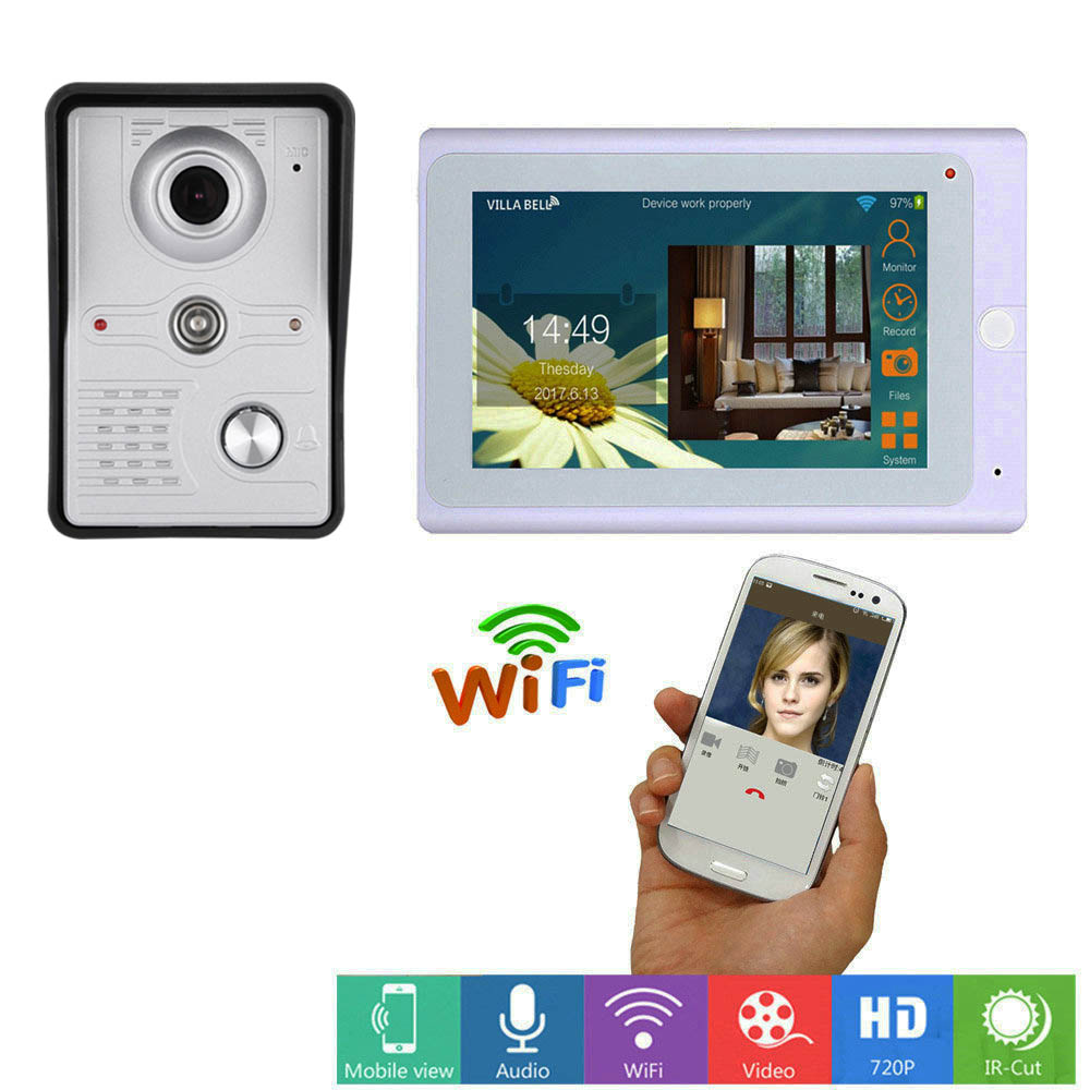 7 Inch Record Wireless WiFi Video Door Phone Intercom System With 1000TVL Wired Doorbell Camera,Support Remote Unlock