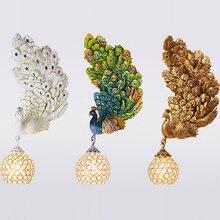 Креативные Настенные светильники в виде павлина золотые красочные