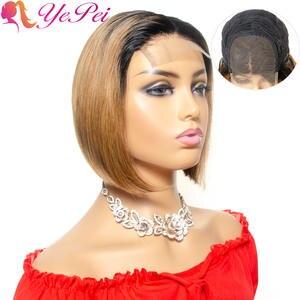 Wig 4x4 Short Human-Hair Lace Bob Pixie-Cut Ombre Straight Brazilian Remy