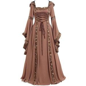 Image 2 - Средневековые маскарадные костюмы для женщин на Хэллоуин, карнавал, средний возраст, сценическое представление, готическое ретро платье Виктории, S 5XL