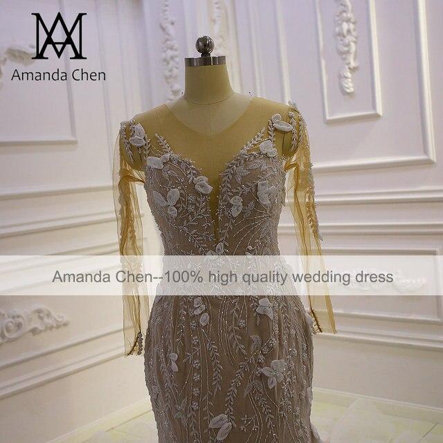 Top Quality Long Sleeves Flowers Champagne Mermaid Wedding Dress 3