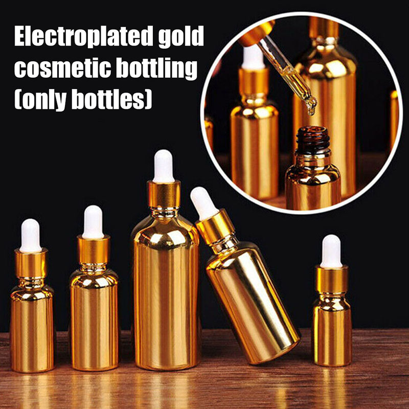 1Pcs Electroplated Golden Essential Oil <font><b>Bottle</b></font> Refillable <font><b>Bottles</b></font> Portable Travel Empty <font><b>Glass</b></font> Container Dropper <font><b>Spray</b></font> <font><b>Bottles</b></font> image