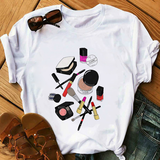 Red Lipstick T Shirt Women Perfumer Floral T-Shirts Girl Summer Shirt Lady Casual Sexy Lip T-shirt Gift for Girlfriend 4