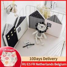 4 pçs cama do bebê pára-choques casa recém-nascido berço proteção em torno de almofada almofadas de berço decoração do quarto do bebê do bebê pára-choques