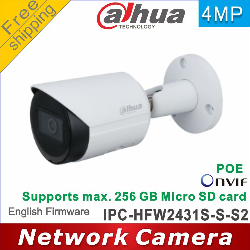 Бесплатная доставка Dahua международная версия IPC-HFW2431S-S-S2 4MP IP Камера P2P Камера cctv POE IR30M IP67 встроенный sd-карта слот