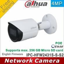 Frete grátis dahua versão internacional IPC-HFW2431S-S-S2 4mp câmera ip p2p câmera cctv poe ir30m ip67 embutido slot para cartão sd