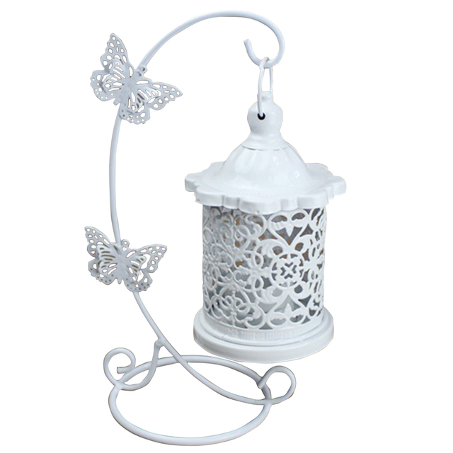 Restaurant Wedding Party Hollowed Out Wrought Iron Candle Holder With Hook Home Decoration Clothing Store Living Room Butterfly 2