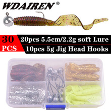WDAIREN Fishing Soft Lure Set 30pcs Silicone Baits With Lead Jig Head Fishhook Offset Hooks Worm Carp Fishing Tackle Kit