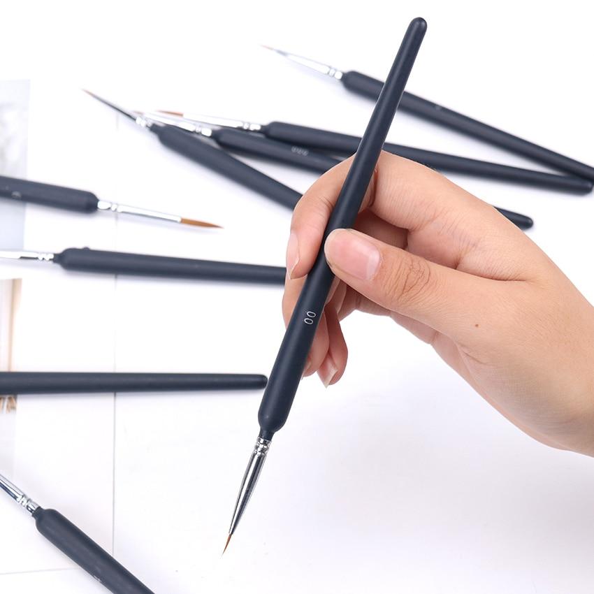 9PCS/Set Wolf Tail Hair Hook Line Pen Artist Painting Stroke Pens Gouache Watercolor Brush Digital Oil Brush