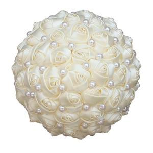 Image 5 - WifeLai A 6 Styles Ribbon Rose Wedding Bouquet Handmade Rhinestone Holding Flowers Bridal Bridesmaid Bouquet Pearl Buque Noiva