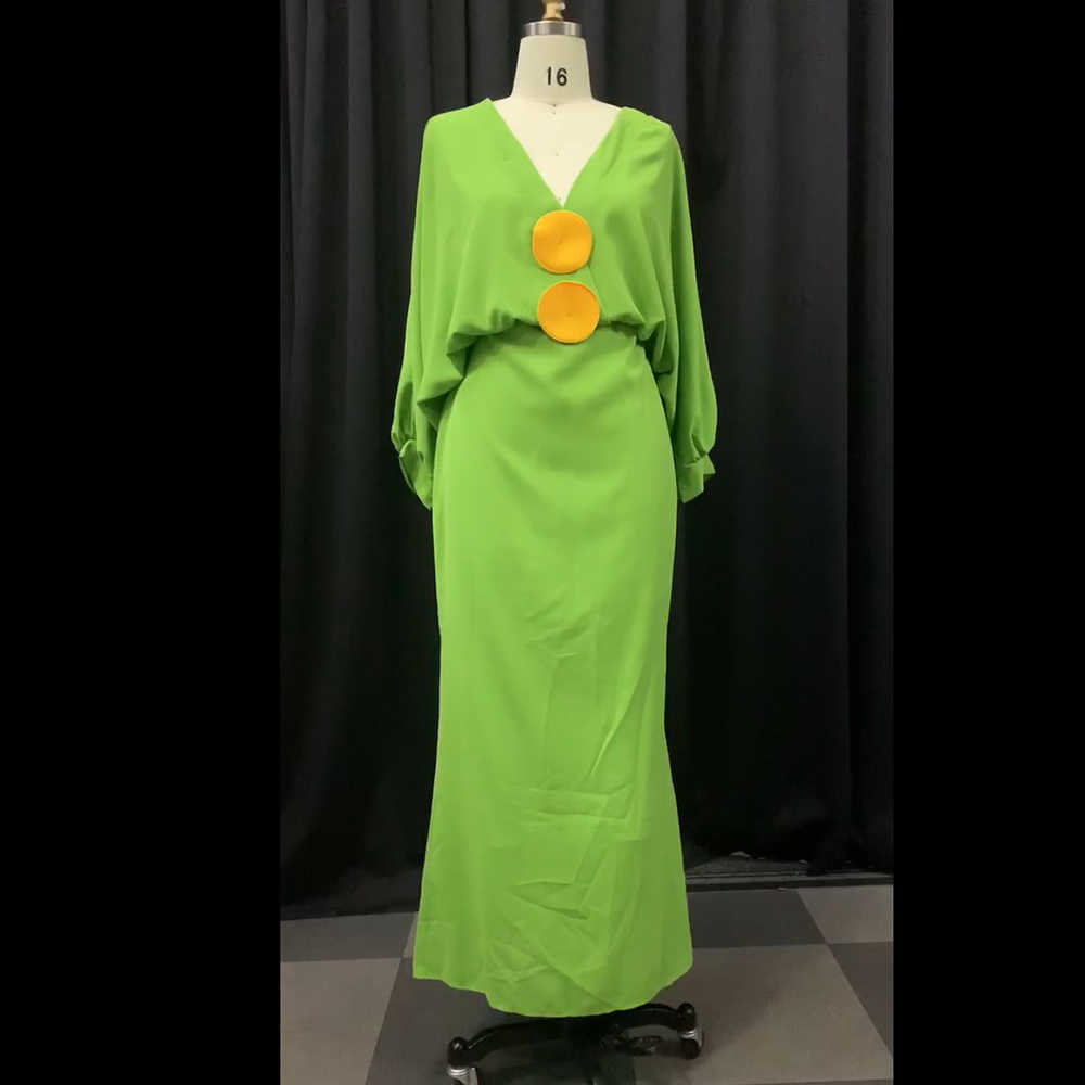 Tamanho grande 3xl decote em v tornozelo-comprimento lanterna manga bodycon vestido longo sexy abacate verde cintura alta maxi noite clube vestidos de festa
