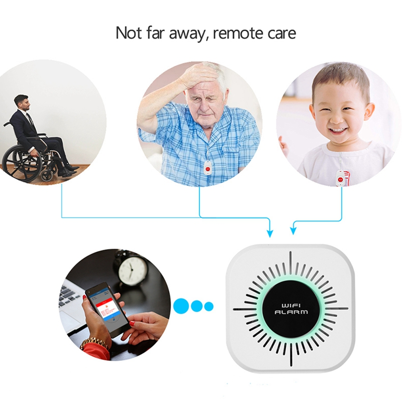Wireless Caregiver Alert System Patient Sos Call Button Elderly Help Pager Emergency Alarm Home Security Smart Phone App Control
