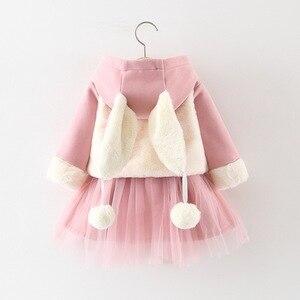 Roupas infantis de gaze de mangas longas, roupas para meninas, vestidos de veludo com 2 peças, outono e inverno 2019 vestido de bebê roupas