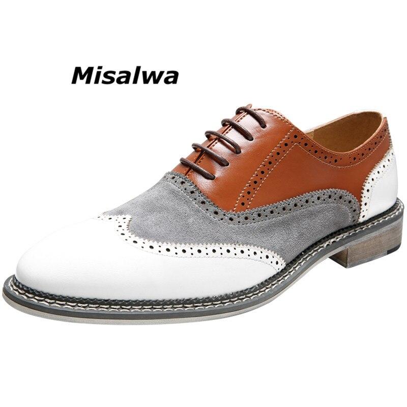 Misalwa Oxfords Wingtip Shoes hombres colores mezclados clásicos negocios Brogues zapatos formales encaje-Up punta zapatos italianos elegantes