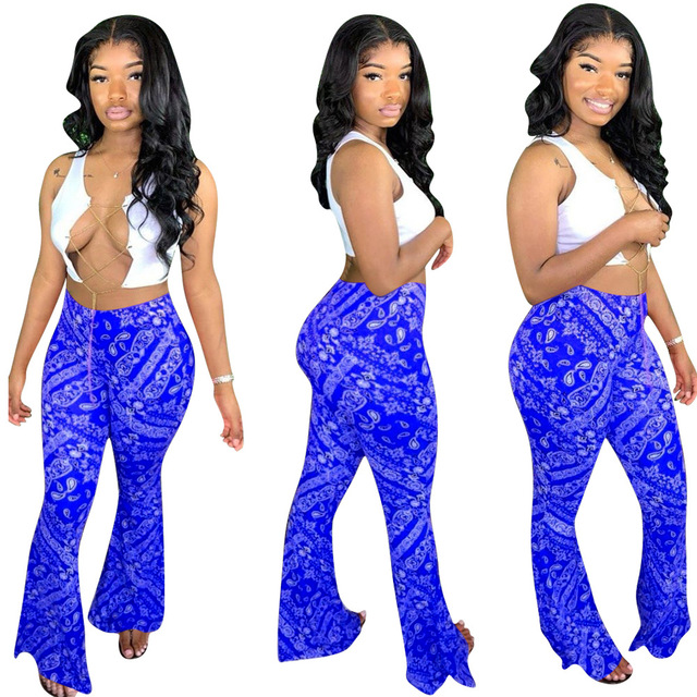 Adogirl S-2XL Women Casual Bandana Print Flare Pants 2020 New Fashion Sexy Foot Cut Bell Bottomed Trousers Night Club Outfits 4