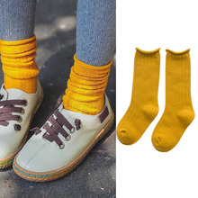 1 Pair Girls Socks Knee Spring Autumn Winter Cotton Lace Double Needle Children Breathable Baby School Casual Hot Sale Socks