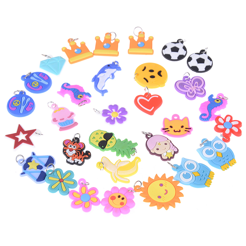 30Pcs Soft Glue DIY Cartoon Colorful Animal Flower Beads Pendants Colorful Loom Rubber Band Bracelet Jewelry Making Beads Toy