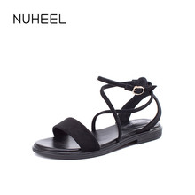 NUHEEL Women's Shoes New Summer Sandals Low-heeled Wild Retro Fashion Elegant Open-toe Word Buckle Shoes Women женская обувь
