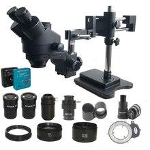 3.5X 180X 더블 붐 Simul 초점 trinocular 스테레오 현미경 산업용 납땜 38MP HDMI USB microscopio 비디오 카메라 도구