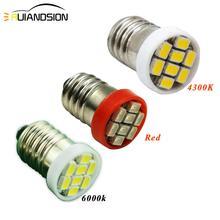 2pcs E10 1206/3528 8SMD led bulb DC 12V Instrument Indicator Old fashioned flashlight White 4300K Red