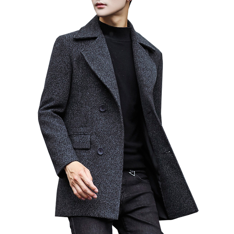 Winter Wool Coat Men Wool & Blends Thick Woolen Coats Casual Fashion Jacket Casaco Masculino Palto Peacoat Overcoat Men N23MF21