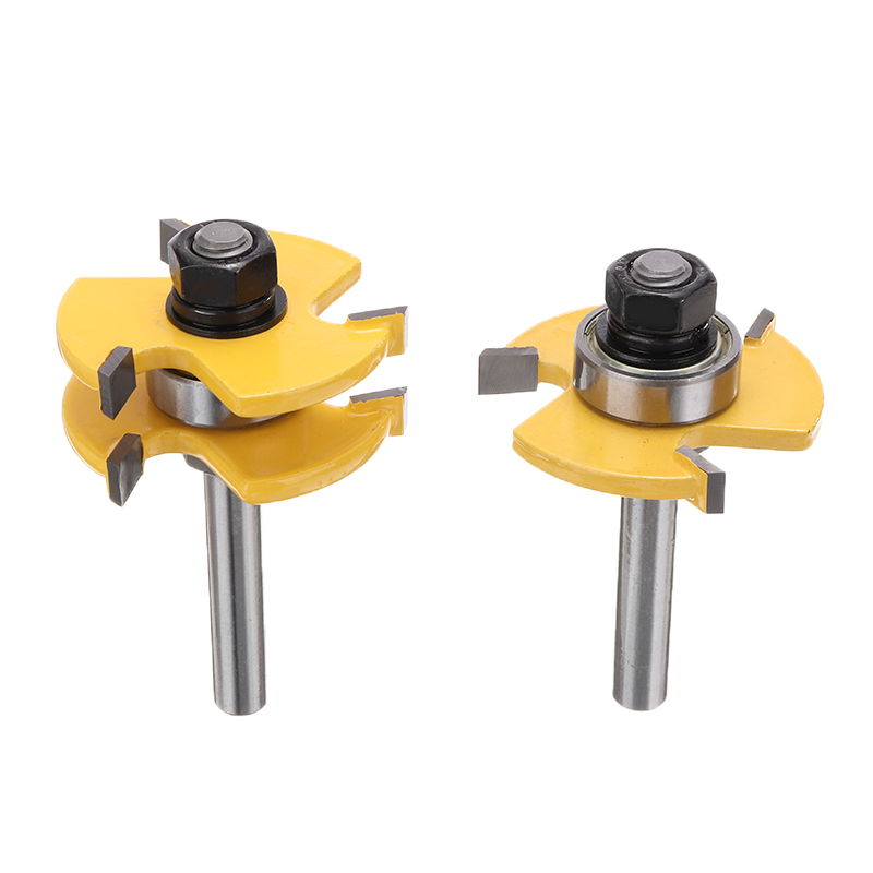 2pcs T-type 3-tooth Mortise Cutter 8mm Shank Groove & Tongue Router Bit Set Woodwoorking Grove Tool Parts