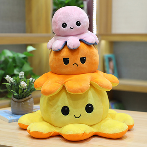 cute reversible octopus plush toy stuffed funny two-sided octopus soft doll kids toys birthday gift for boy girl