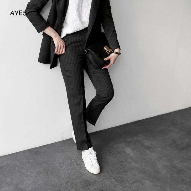 Femmes automne hiver Blazer pantalon costumes Vintage noir blanc épaissir femmes pantalon costume cranté Blazer Jacke pantalon ensemble 2020 tenue de bureau