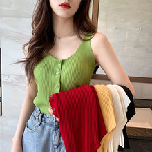women ice silk v-neck waistcoat knitting sleeveless Button vest female girls pure color Camis slim basic Tank Tops(China)
