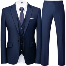 Fashion New Men Business Casual Effects Color 3 Stuck Suits/Male Two Buttons Blazers Jacker Jas Broek vest