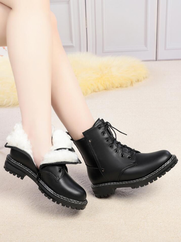 AIYUQI Shoe-Boots Non-Slip Wool Winter Genuine-Leather Women's Ladies Ankle Warm Student