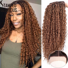Stamped Glorious Synthetic Lace Front Deep Curly Wigs Mixed Brown Root