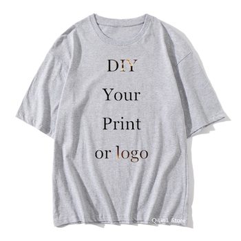 Customized Print solid t shirt men women Your OWN Design Logo/Picture pink yellow Blue orange grey green Custom t-shirt male top fuwatacchi design picture here print