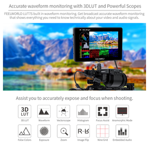 Image 3 - FEELWORLD LUT7S 7 Inch 3G SDI 4KHDMI 2200nits 3D LUT Touch Screen DSLR Camera Field Monitor with Waveform VectorScope Histogram