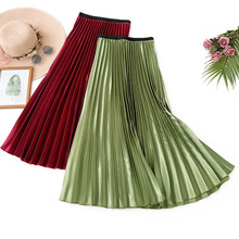 AcFirst Autumn Women Red Green Casual High Waist A Line Pleated Skirts Ankle Length Long Skirt Clothing Female Plus Size