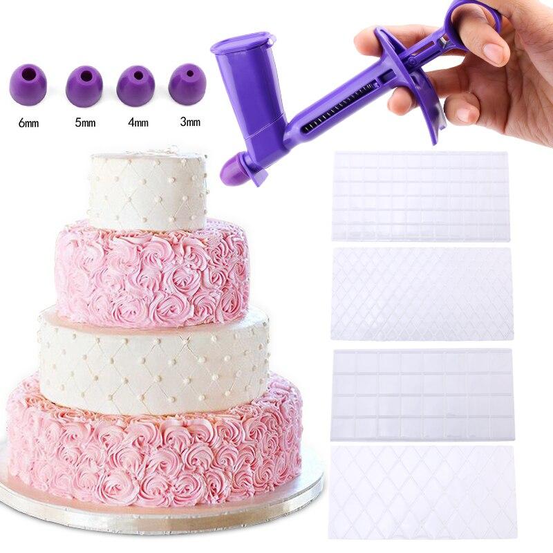 4 개/대 그리드 투명 질감 매트 퐁당 케이크 격자 무늬 양각 베이킹 텍스처 장식 금형 케이크 도구