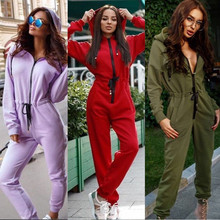 Casual Women One Piece Outfits Jumpsuits Long Sleeve Bodycon Front Zipper Hooded Long Pants Sexy Rompers Playsuit