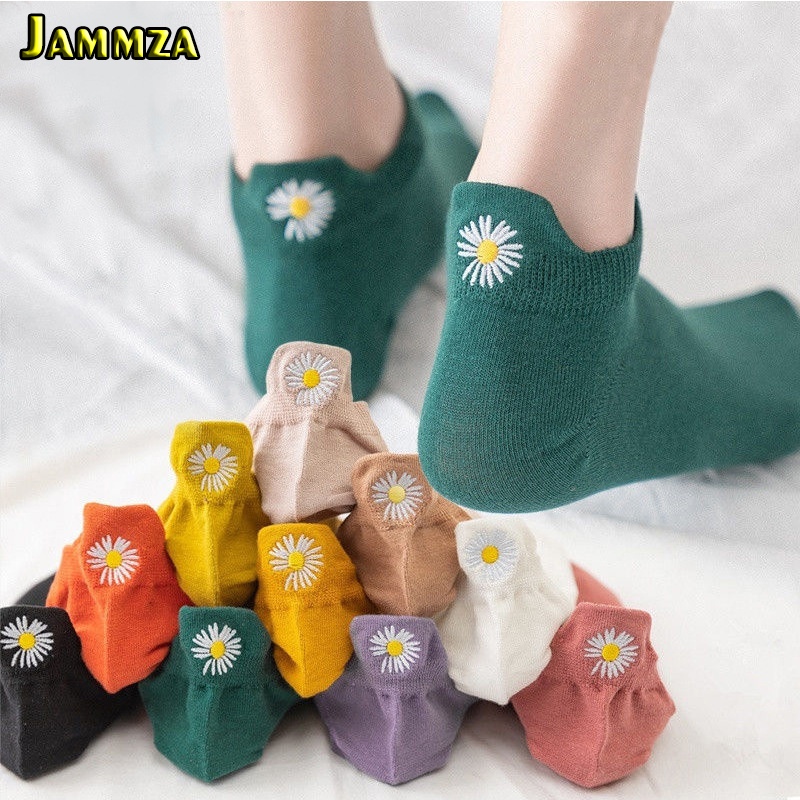 5Pairs/Lot Spring Summer Ankle Socks Women Cartoon Embroidery Expression Socks Funny Daisy Flower Fashion Korean Style Socks