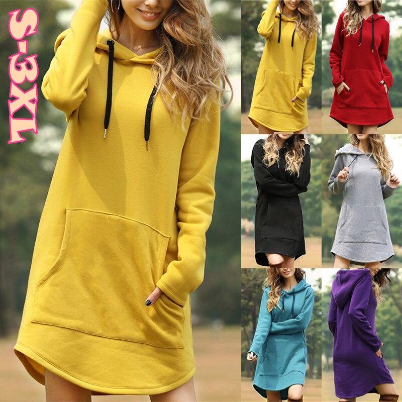 6 Colors Winter Women Simple Style Pocket Loose Irregular Hem Hooded Sweatshirt Dress(S-3XL)