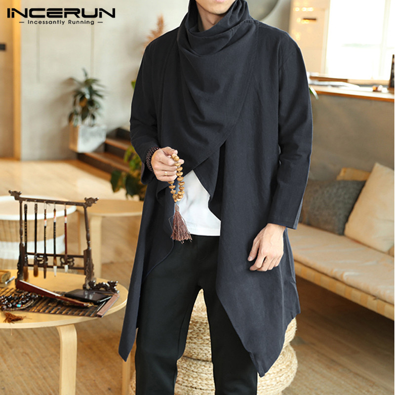 INCERUN Men Retro Jackets Coat Solid Scarf Collar Casual Irregular Trench Long Sleeve Cloak Cotton Stylish Mens Windbreaker 2019