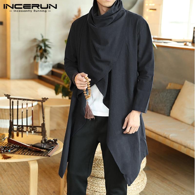 INCERUN Men Retro Jackets Coat Solid Scarf Collar Casual Irregular Trench Long Sleeve Cloak Cotton Stylish Mens Windbreaker 2020