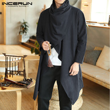 INCERUN Men Retro Jackets Coat Solid Scarf Collar Casual Irregular Trench Long S