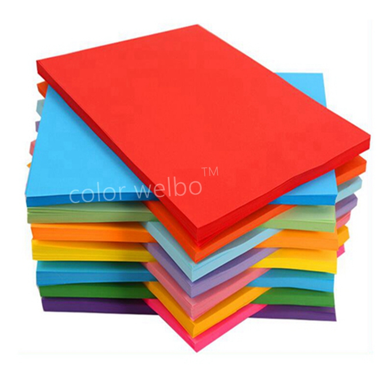 A4 Paper Printing And Duplicating Thick Handmade Paper Origami Rectangular Color Children's Origami Material Fluorescent Paper