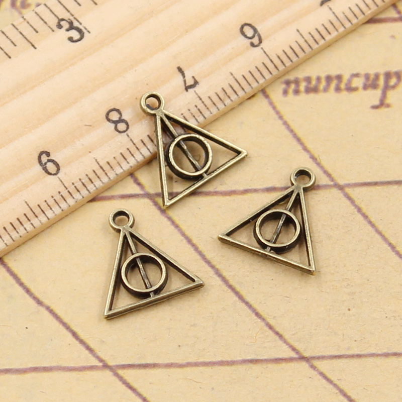 30pcs Charms Deathly Hallows 13x12mm Tibetan Bronze Silver Color Pendants Antique Jewelry Making DIY Handmade Craft 3