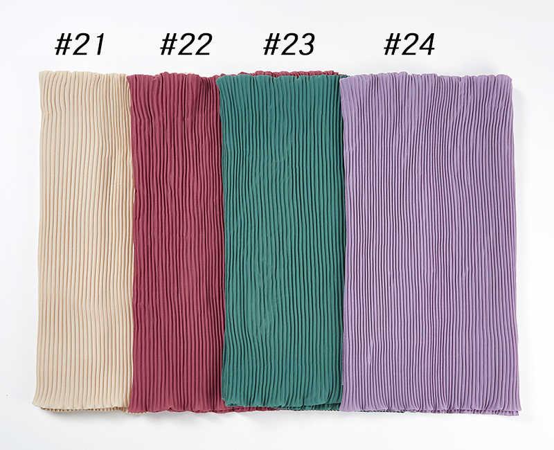 Nieuwe Grote Maat 85*180 Cm Vrouwen Crumple Bubble Chiffon Sjaal Effen Gerimpelde Sjaals Geplooide Hoofdband Hijab Moslim Wraps sjaals/Sjaal